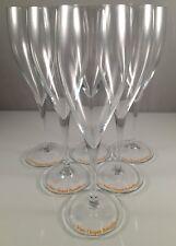 Champagne Veuve Clicquot : 6 Small Flute glasses, Older style Orange Logo PROMO