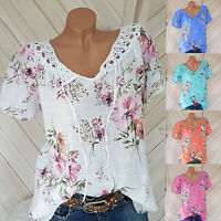 Women Short Sleeve Beach Blouse Summer V Neck Casual Floral Shirt Tops Loose Tee