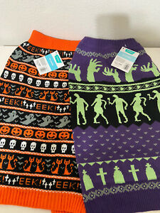 Frisco Halloween Fair Isle and Zombie Outbreak Dog Sweaters Set of 2 Size XL NWT