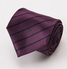 "NWT $205 ERMENEGILDO ZEGNA Plum Purple-Black Stripe Satin Silk Tie 3.5"""