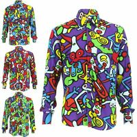 Mens Shirt Loud Originals Rayon REGULAR FIT Long Sleeve TIFFY PRINT Retro Dance
