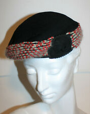 12dd3e32038 VINTAGE Black Wool Felt Beret Pillbox Hat Red Beads Gray Floral Detail