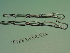 Tiffany & Co.~NEW~18k White Gold~Paper Clip Dangle Drop Earrings~Fashion Forward
