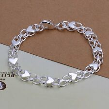 Fashion 925Sterling Solid Silver Jewelry Heart Chain Bracelet For Women H293