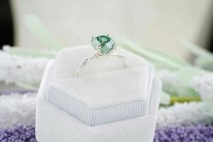 2.00 Ct Round Cut Green Emerald Solitaire Halo Wedding Ring 14k White Gold Finis