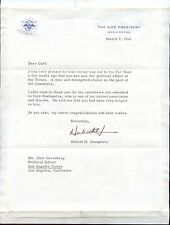 Hubert H. Humprey signed Letter TLS as Vice President 1966 - VG+/EX Con.