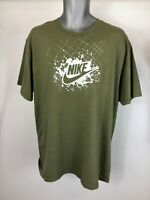 Men's Nike Dark Green White Short Sleeve Logo Print Patterned T-Shirt Top Size L