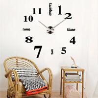 Modern Large Wall Clock 3D Mirror Surface Sticker DIY Home Room Decor Art Design