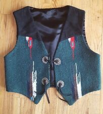 Women's Dion Green Indian Blanket Western Cowboy Vest L Large Made in the USA