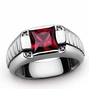 STERLING SILVER Mens Ring with 2.0ctw Red Ruby and GENUINE DIAMONDS All Sz