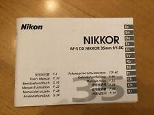Nikkor Af-S Dx 35mm f/1.8G Lens Instruction Manual Book Guide for Nikon Dslr
