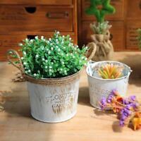 Vintage Metal Iron Keg Flower Pot Hanging Balcony Garden Plant Planter Decor Pot