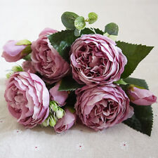 Artificial Silk Peony Flowers Bouquet Fake Leaf Wedding Party Home Decoration X1