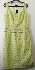 A B S BY ALLEN SCHWARTZ size 12 PRETTY NWT Lime with Piping & Pink Roses DRESS