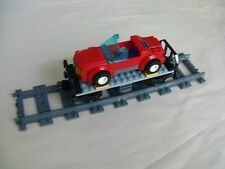 Lego CITY TRAIN: Custom FLATBED RAIL CAR w/ CONVERTIBLE AUTOMOBILE...VG
