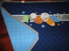 SPORTS BLUE ORANGE SOCCER BASKETBALL FOOTBALL BASEBALL (1) TWIN QUILT 61 X 84