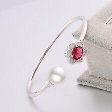 White Sapphire & Pearl Bracelet 18K White Gold Filled Flower Garnet Cuff Bangle