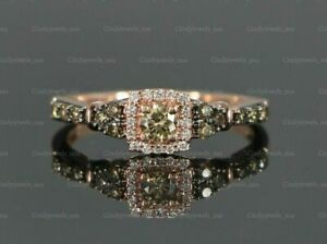 1.00ct Chocolate & White Diamond 14K Rose Strawberry Gold Over Engagement Ring
