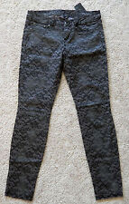 NWT GUESS Los Angeles Denim Pants Skinny Jeans Grey and Black Floral Overlay 27