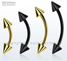 """Curved Barbell Eyebrow Ring with Spikes 20G 1/4""""- 3/8"""" Anodized Surgical Steel"""