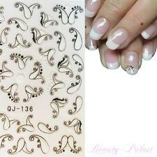 Nagel Sticker Nailart Tattoo Aufkleber 3D auch für Fußnägel Weiß/Schwarz QJ136