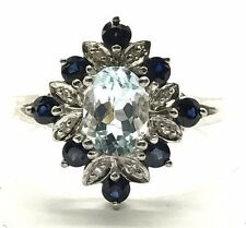 Sterling 925 Oval Blue Aquamarine Sapphire Diamond Floral Marquise Cocktail Ring