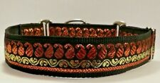 Metallic Bronze Paisley Gold Martingale Dog Collar Greyhound Lurcher Saluki 1.5""