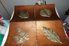 METAL CAST ALUMINUM ANTIQUE COPPER COLOR LEAF PANELS SET OF 4 AUTUMN FALL DECOR