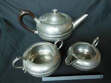 VINTAGE ENGLISH PEWTER TEA POT, SUGAR BOWL & MILK JUG,LIBERTY STYLE TEA SET