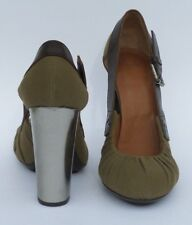 DRIES VAN NOTEN Khaki Olive Canvas Brown Leather Silver Heel Cut Out Pumps 40