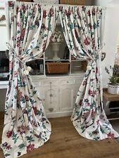 LAURA ASHLEY Summer Palace Off White Floral Bird Large Curtains Shabby Chic