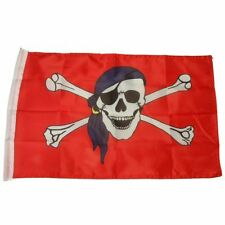 Small 12 Inch X 20 Inch Replacement Pirate Skull With Blue Bandana Flag For Whip