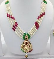 22CT 22K BRIDAL YELLOW GOLD PEARLS RUBY EMERALD SET NECKLACE INDIAN BOLLYWOOD