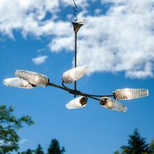 French Vintage 1950s/60s Brass & Glass 6 Arm Atomic Era Ceiling Light Fixture