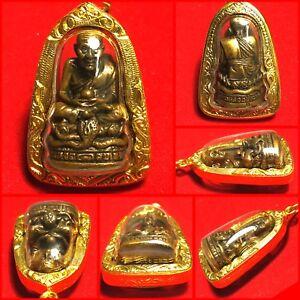 Phra LP Tuad (Thuad) Statue Wat Chang Hai Thai Amulet Buddha Gold Case Necklace
