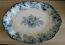 Vintage Alfred Meakin Ormonde Pattern Large Victorian Blue and Gold Meat Plate