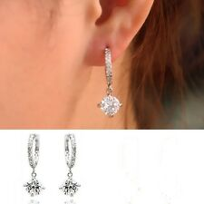 White Gold Plated Shiny Clear Austrian Crystal Pendant Hoop Earrings Jewelry