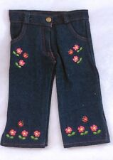 """Denim Jeans with Embroidered Butterflies/Flowers Fits 18"""" American Girl Doll"""