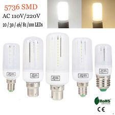 5X 10X E14 E27 B22 LED Corn Bulb Light 3W 5W 7W 9W 12W Lamp 5736 SMD 220V Bright
