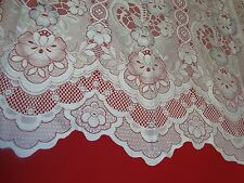 "ONE PANEL LACE SCALLOP FLORAL CURTAIN AIR BRUSH Color 57"" x 61""long Off WHITE"