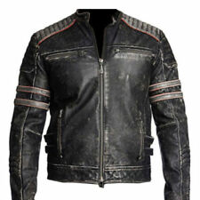 Retro 1 , Men Vintage Biker Motorcycle Distressed Leather Jacket - BLACK