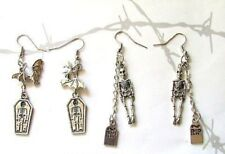 GOTHIC EARRINGS TWO PAIRS Skeleton & Tombstone Bat & Coffin Pagan Wicca Handmade