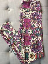 NWT LuLaRoe OS Paisley Leggings Vintage Floral Scroll Pink Yellow One Size