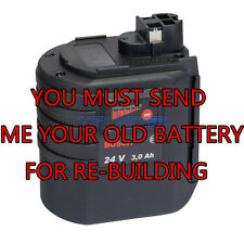 Rebuild service for Bosch 24 volt Ni-MH 3.0AH battery BAT019, BAT20, or BAT21