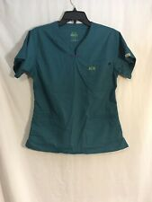 Womens Blue Green Iguana Medical Sz XS X-small Scrub Top Good Condition Preowned