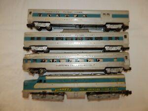 American Flyer Lines 466 Silver Comet Locomotive & 3 Cars #960, #962, #963 train