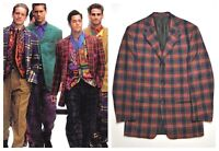 GIANNI VERSACE COUTURE Men Tartan Wool Blazer Jacket Check 90 Medusa Red Vintage