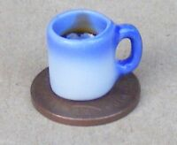 1:12 Scale Blue & White Mug With Black Coffee Dolls House Ceramic Drink