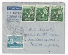 1955 Mahebourg Mauritius, Airmail Air Letter to Fort Lauderdale FL, Four Stamps