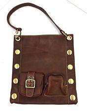 Vintage Leather Messenger Bag Shoulder Strap Brown Steampunk Scooter Bijou